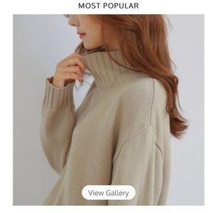 Mock Neck Sweater in Soft Beige